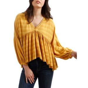 Lucky Brand Puffed Sleeve Ruffled Top | Large